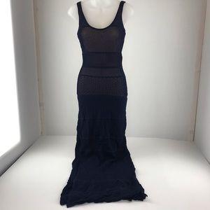 Venus Navy Blue Knit Maxi Dress